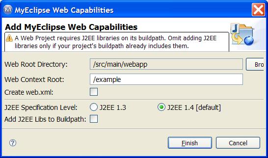 Add WebProject Capabilities screenshot