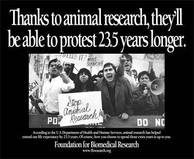 People protesting animal research with the caption: Thanks to animal research, they'll be able to protest 23.5 years longer.